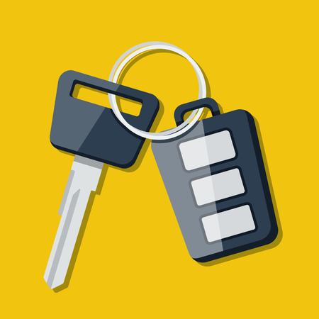 40343642 - vector car key and charm of the alarm system. vector