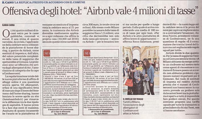 """Offensiva degli hotel: """"Airbnb vale 4 milioni di tasse"""""""